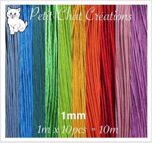 Lot Mix de 10m de fil en coton ciré de 1mm pour colliers sautoirs bracelets *CU4