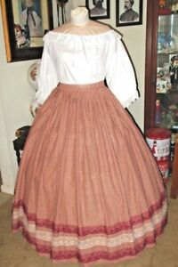 Details about CIVIL WAR DRESS~VICTORIAN STYLE HOMESPUN COTTON BURGUNDY PLUS  SIZE PLAID SKIRT
