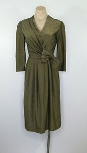 Vintage-Retro-Look-Dress-Gold-Bow-Pencil-Stretch-1940-039-s-Approx-Size-8-10-AU