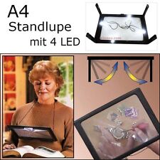 4 LED A4 Standlupe Faltbar Große Leselupe 2 in 1 Lesehilfe Lupe 3 Fach Tischlupe