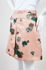 No. 21 NWT $970 Nude Pink Green Sateen Floral Print A Line Mini Skirt SZ 44