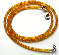 """47.50CT 18"""" NATURAL YELLOW  SAPPHIRE FACETED RONDELLE BEADS NECK 2 TO 2.5 MM AAA"""