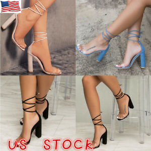 Womens-High-Block-Heel-Ankle-Strappy-Transparent-Peep-Toe-Lace-Up-Sandals-Shoes