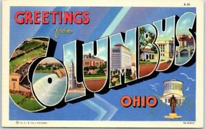 COLUMBUS-Ohio-Large-Letter-Postcard-w-State-Capitol-View-Linen-c1940s-Unused