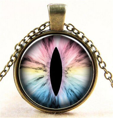 Vintage Devil's Eye Cabochon Bronze Glass Chain Pendant Necklace N10