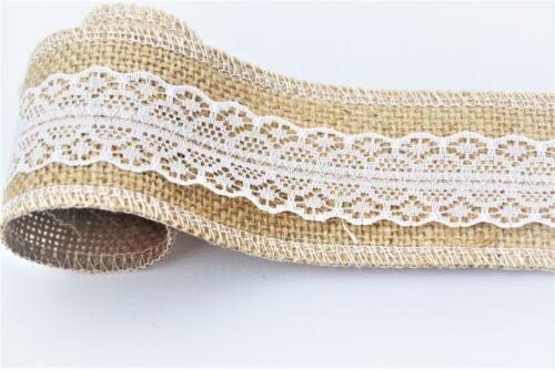 Hessian LUXURY12oz Burlap RIBBON Weddings Belting Strap Floristry Red//White//Lace