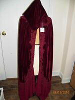 red burgundy velvet lace long hooded cape cloak nwt
