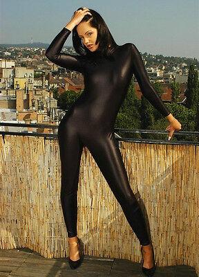 Metallic Black Lycra Spandex Catsuit Halloween Party Zentai Costumes S-XXL