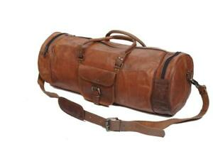 Travel-Tour-Hang-Out-Bag-Men-039-s-genuine-Leather-large-Triangle-Duffle-Travel