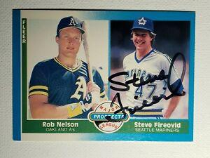 1987 Fleer Steve Fireovid Auto RC Mariners Padres Phillies Autograph Card #653