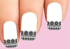 Waterslide Daisies Nail Decals Set of 10 - Black Lace Daisy Flowers Tips