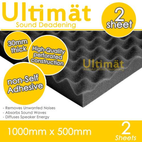 2x Acoustic Egg Foam Sound Proofing Damping Deadening Mat Sheet 1000x500x30mm