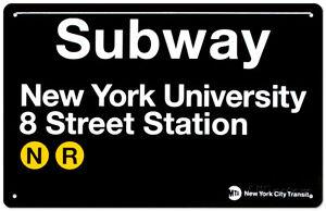 Subway New York University- 8 Street Station Tin Sign - 17x11