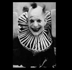 Details about Scary Vintage Creepy Clown PHOTO Freak Strange Weird  Halloween Costume