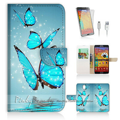 Samsung Galaxy Note 4 Print Flip Wallet Case Cover! Butterfly Blue P0225