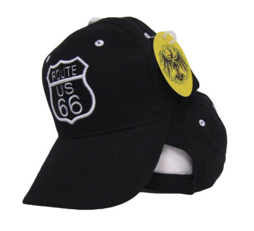 Baseball sytle Cap Hat Black and White US Route Rte 66 white Rim