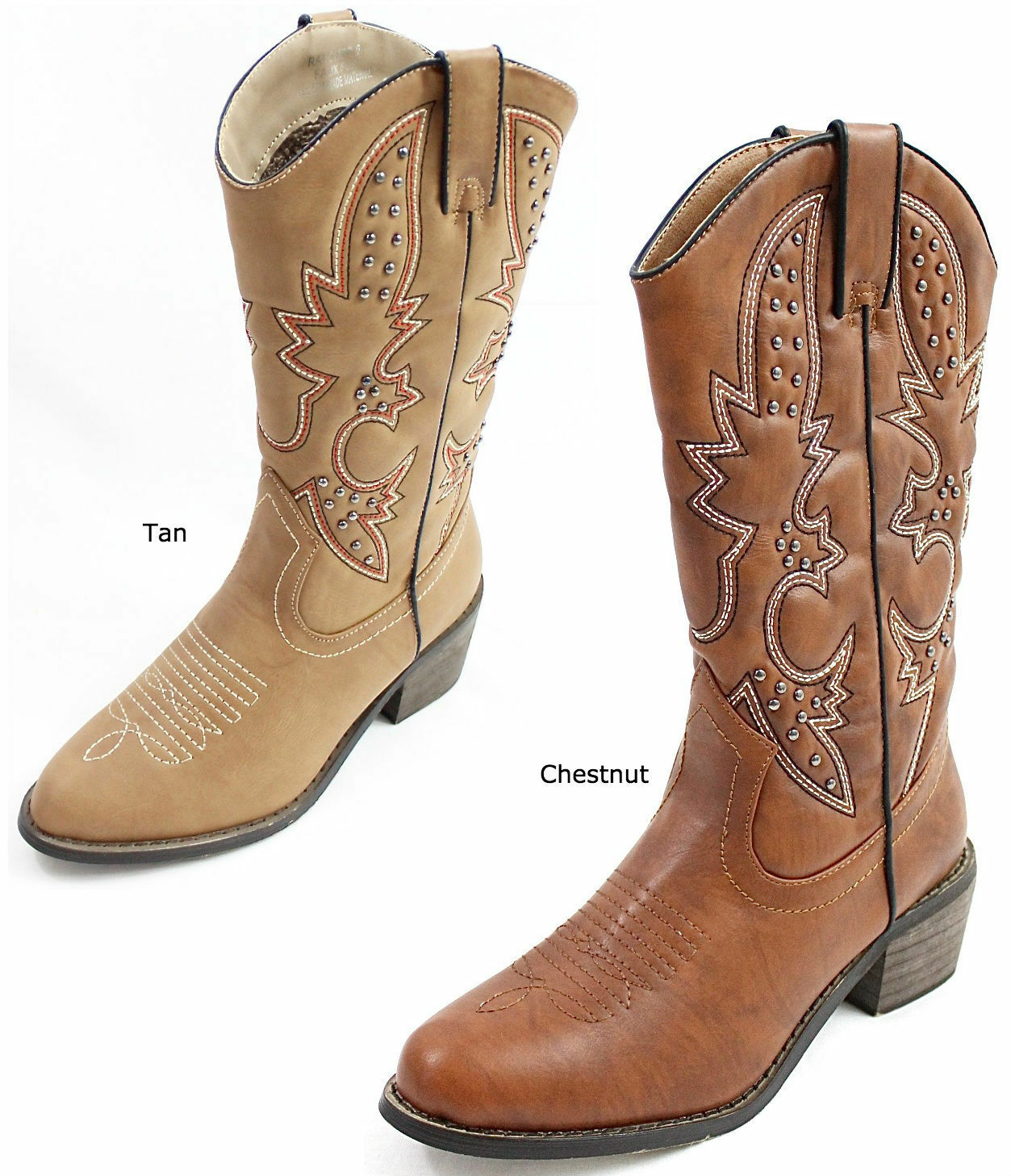 New Dollhouse Rancher Women's Embroidered Studded Western Cowboy Mid Calf Boots