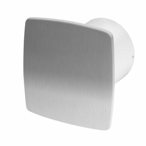 Bathroom Extractor Fan 100mm Timer Humidity Sensor Stainless Steel Front Panel