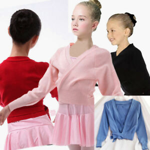 Ballet-Dance-Warm-Up-Crossover-Wrap-Cardigan-3-12y-Pink-Black-Red-Blue