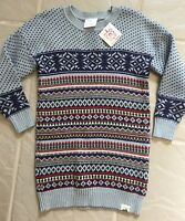 Hanna Andersson Lt Blue Nordic Bands Tunic Sweater Dress Sz 110 (4-6yr)