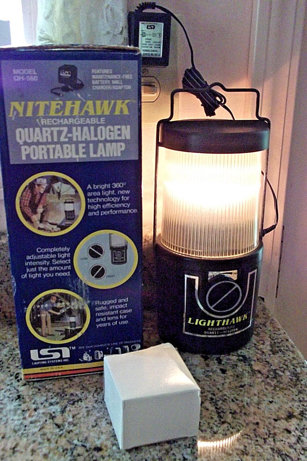 As Is WORKING Rechargeable LIGHTHAWK Quartz Halogen Lantern NITEHAWK BOX Adapter