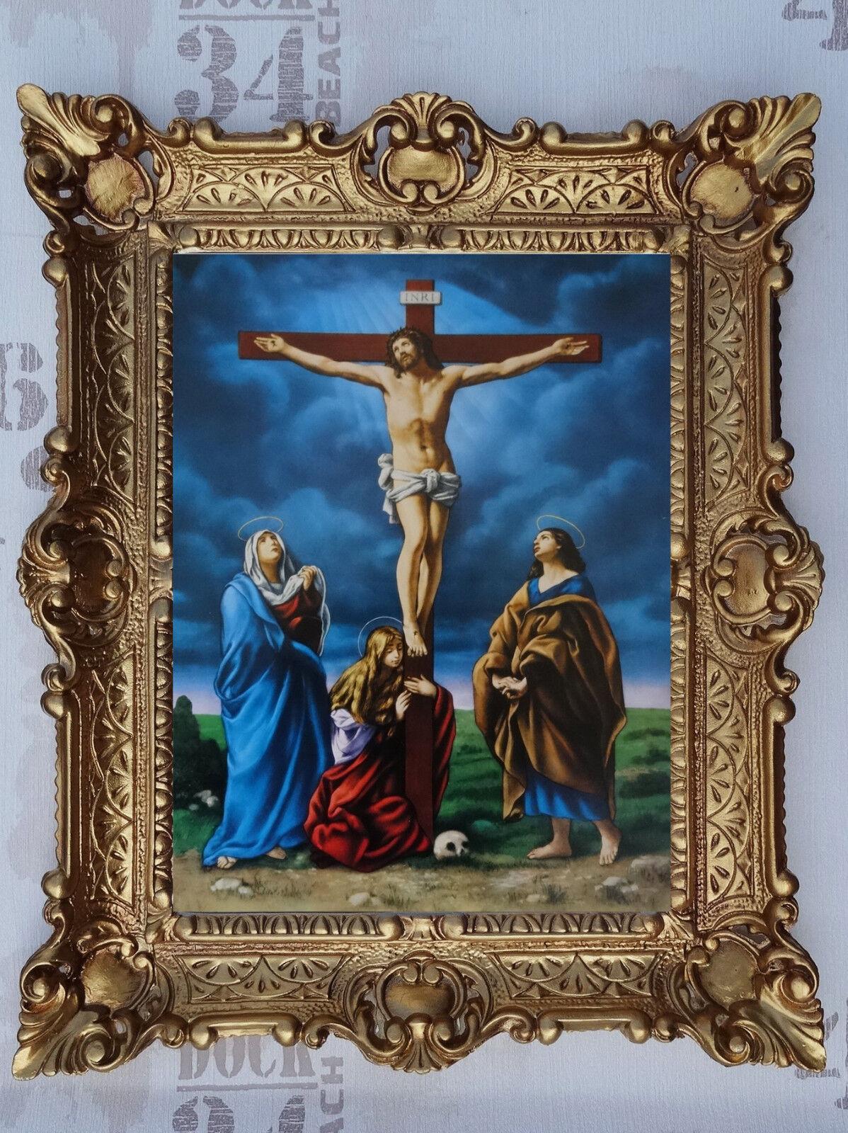 Gemälde Jesus Maria Ikonen Heiligenbild mit Rahmen 56x46 cm Religiöse Bilder 8