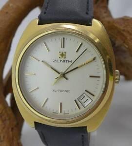 Original-Zenith-XL-Tronic-Herrenuhr-in-Edelstahl-vergoldet