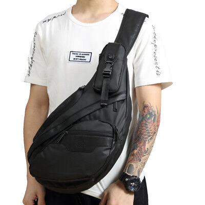 Men Waterproof Oxford Travel Hiking Chest Day Pack Bag Sling Shoulder Back Pack