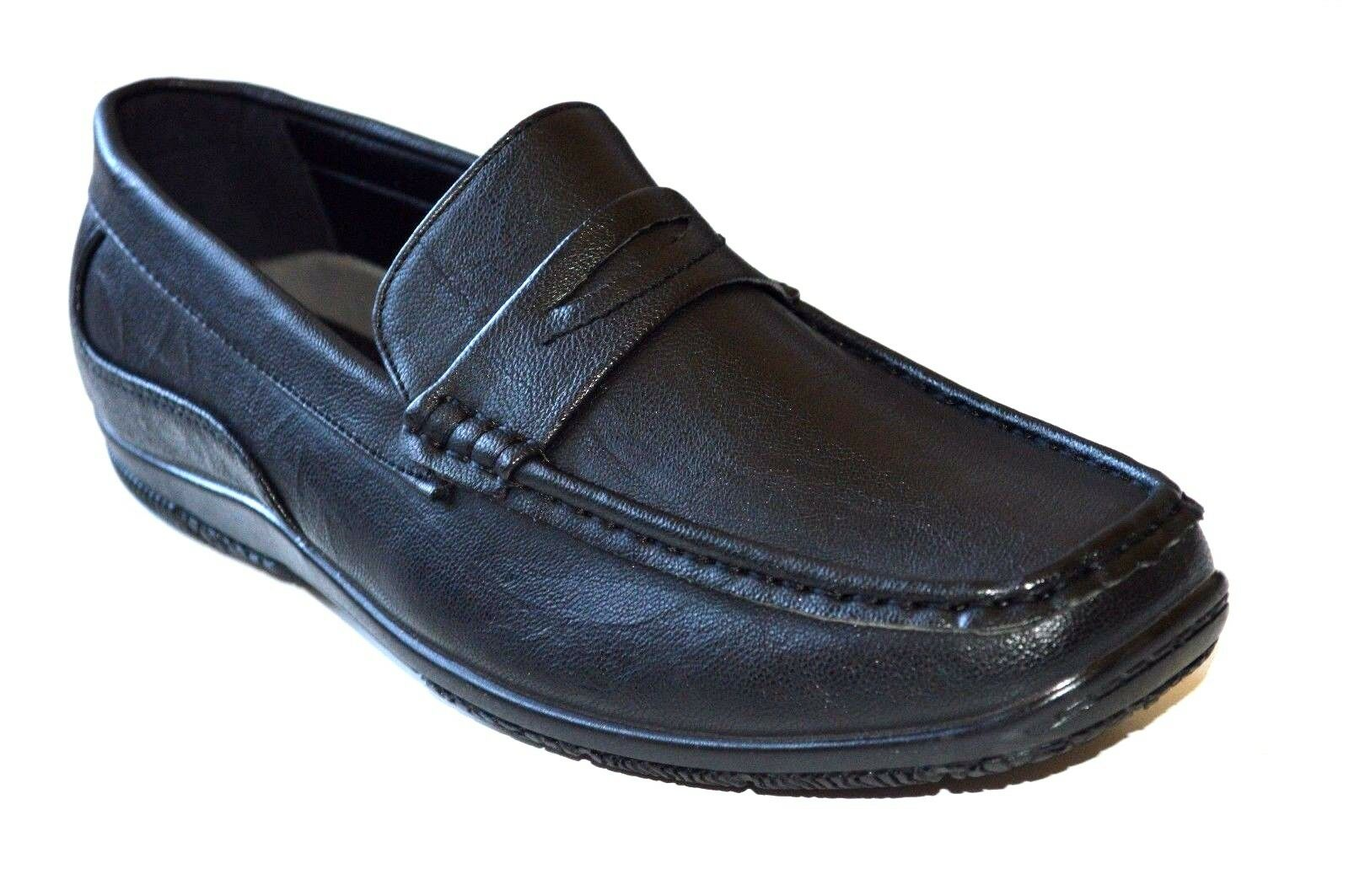 New Men's casual Driving Shoes Moc-Toe Moccasins Slip On Loafers - Black/Pla 01