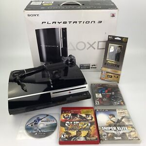 Sony Playstation 3 Fat Console 80GB W/ Original Box, 4 Game Lot Bundle