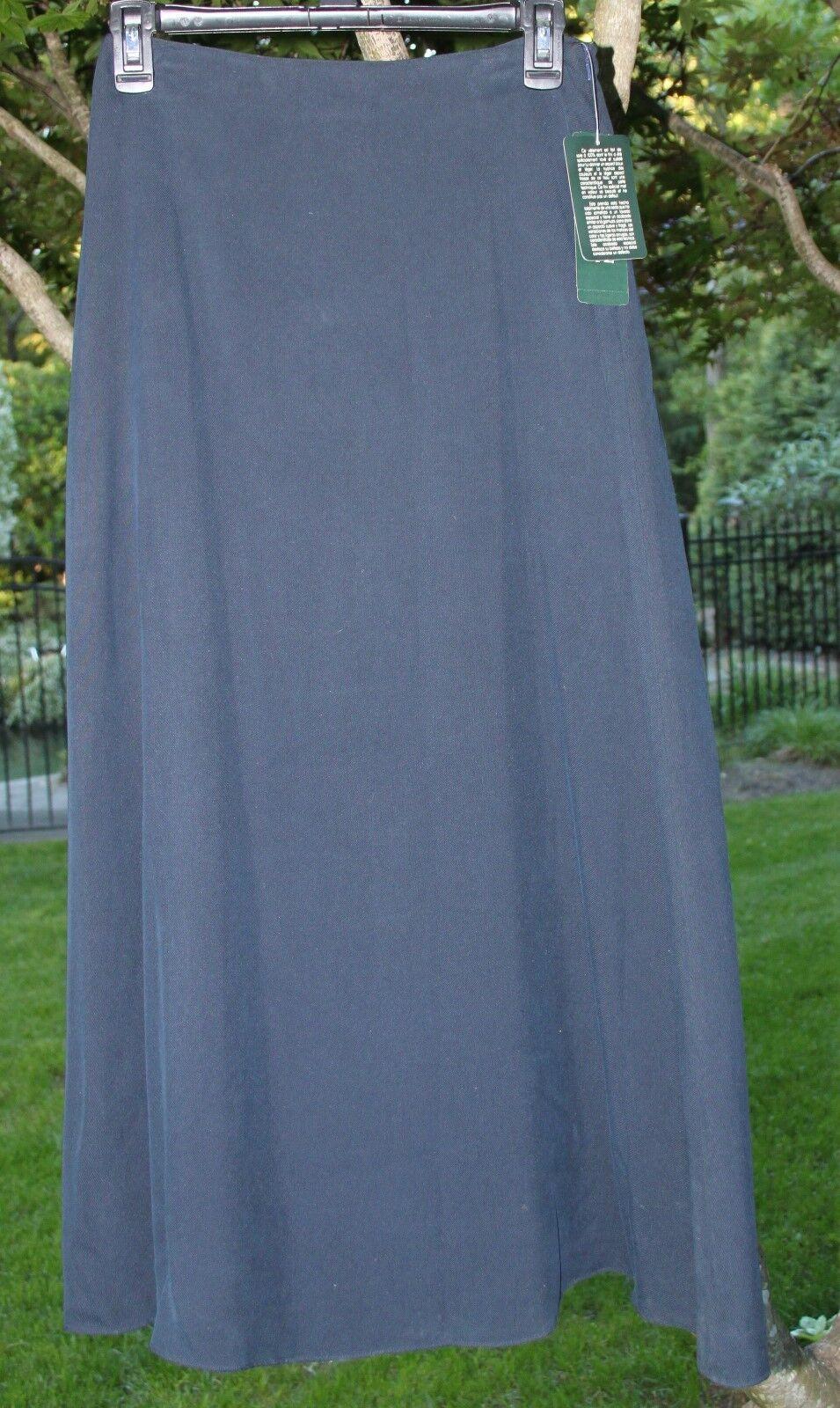 Lauren Ralph Lauren Petite 100% Silk Mustique Navy Skirt NWT  129 8P