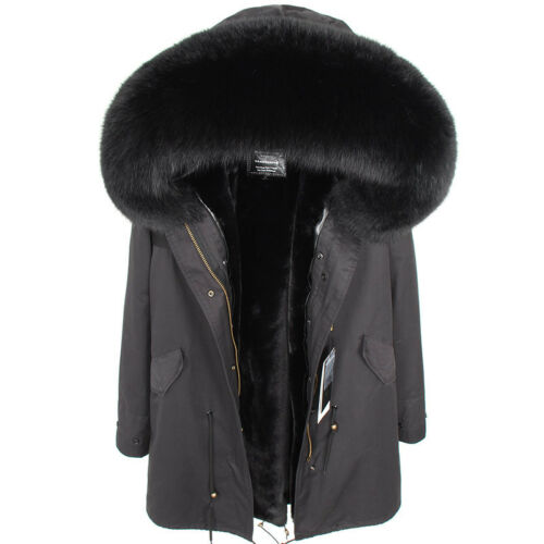 Women Big Real Raccoon//Fox Fur Collar Hooded Coat Winter Jacket Warm Parka-Gift