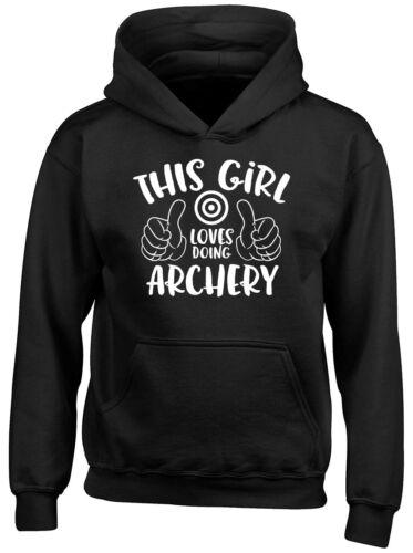 This Girl Loves doing Archery Boys Girls Kids Childrens Hoodie