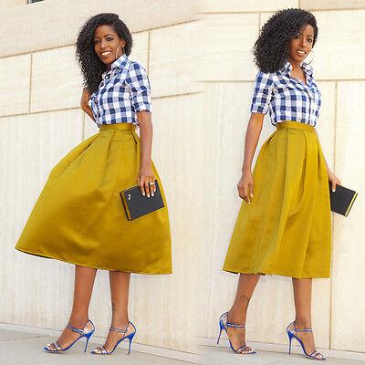 Fashion Women Swing Skirt A Line Pleated High Waist Midi Ball Gown Long Dress