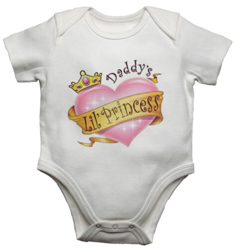 Daddys Little Princess Funny Personalised Baby Vest Newborn Gift Bodysuit//Grow