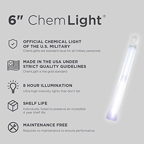 Lot of 10 White 8HR Cyalume TACTICAL Lightsticks EX 04//2022 Prepper Survival EMP