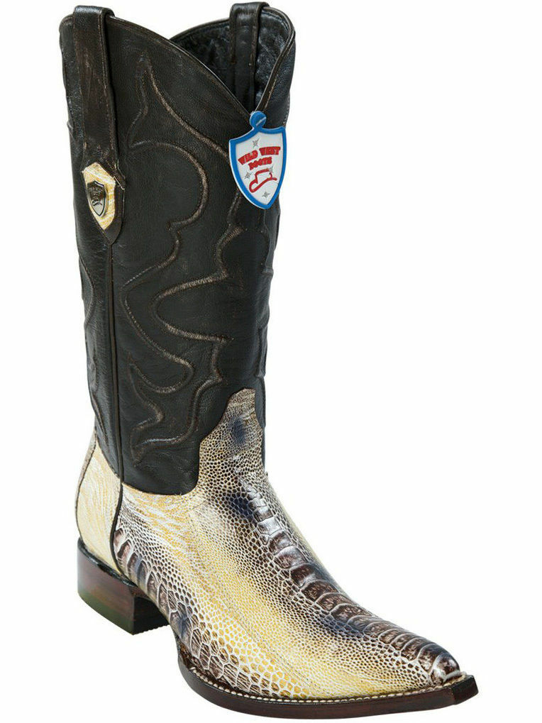 WILD WEST NATURAL 3X-TOE GENUINE OSTRICH LEG WESTERN COWBOY avvio (D)