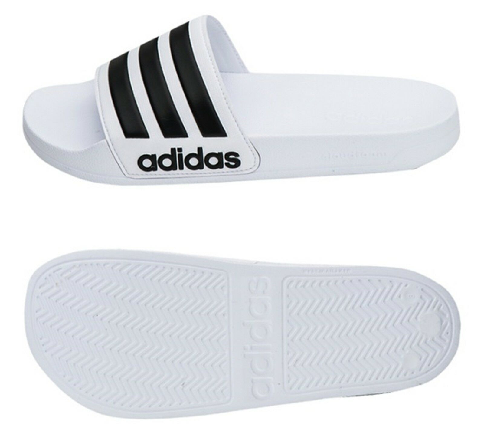 Adidas Men Adilette Cloudfoam Slipper Shoes White Beach Sandalias con tobogán AQ1702