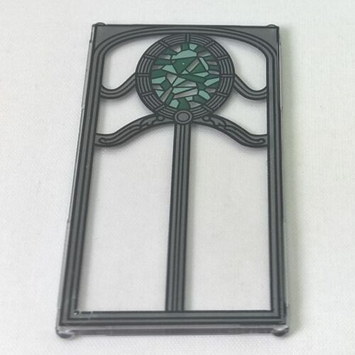 1 LEGO Glass for Window 1 x 4 x 6 Silver Frame Green Oval Stained Glass Pattern