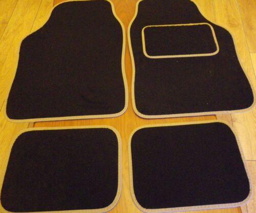 Car Mats Black and Cream Beige trim for SEAT ALTEA AROSA IBIZA LEON TOLEDA EXEO