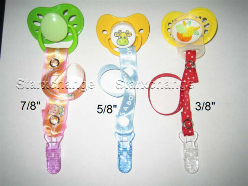 10 BABY PACIFIER BADGE CLIPS U PICK COLOR ~LARGER CLIP
