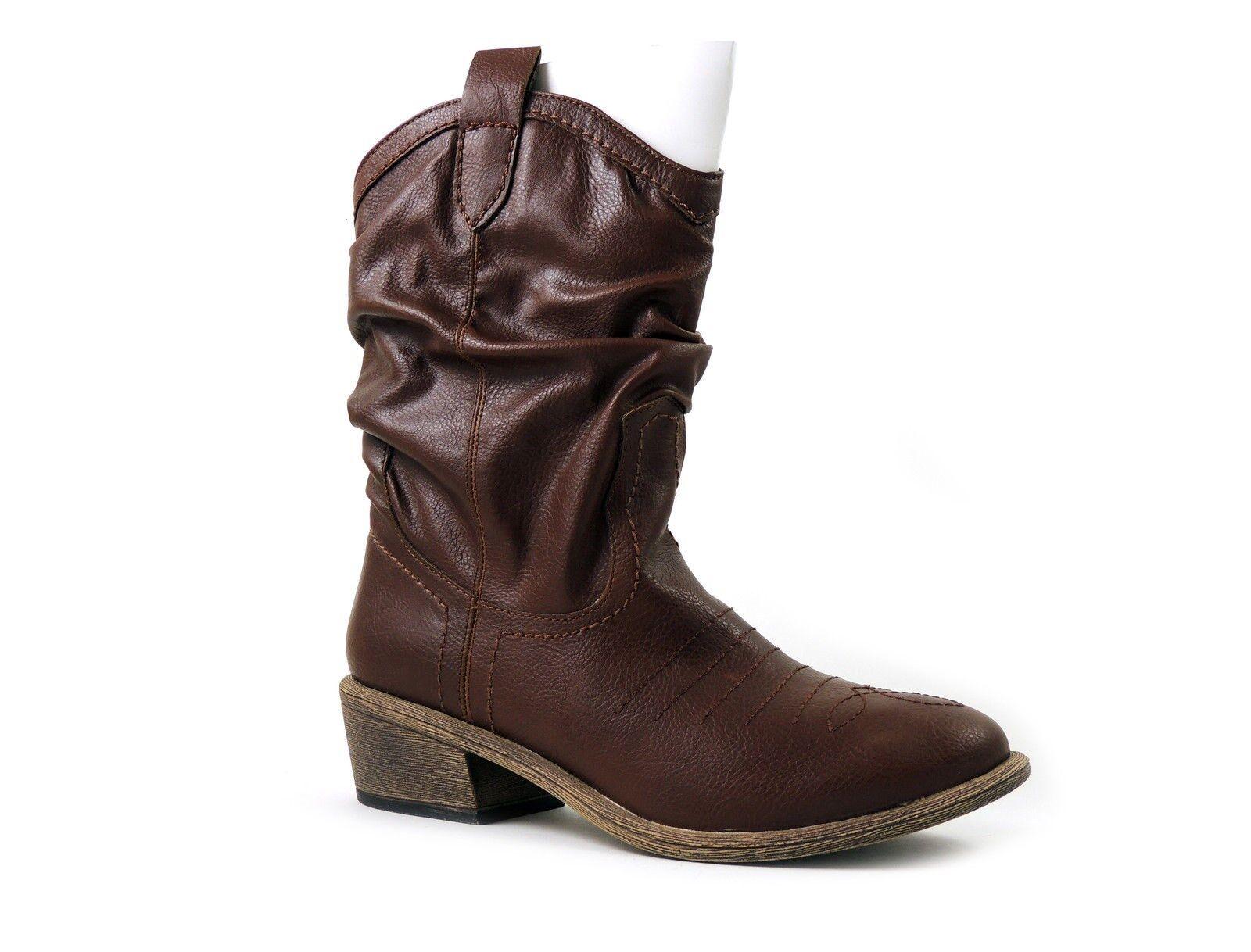 American Rag Women's Shoes, Coyote Cowboy Boots Distressed Oak Brown Sz 6.5 M