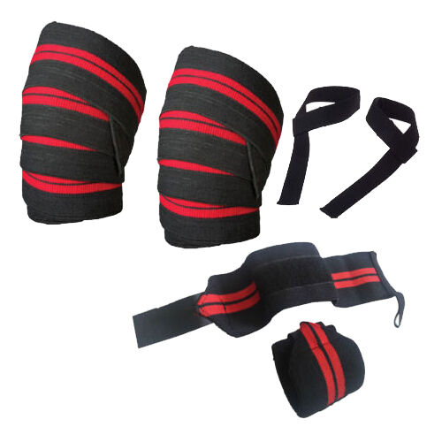 3 Pcs Weight Lifting Elasticated Knee Wraps Wrist Wraps Bar Straps Support Gym