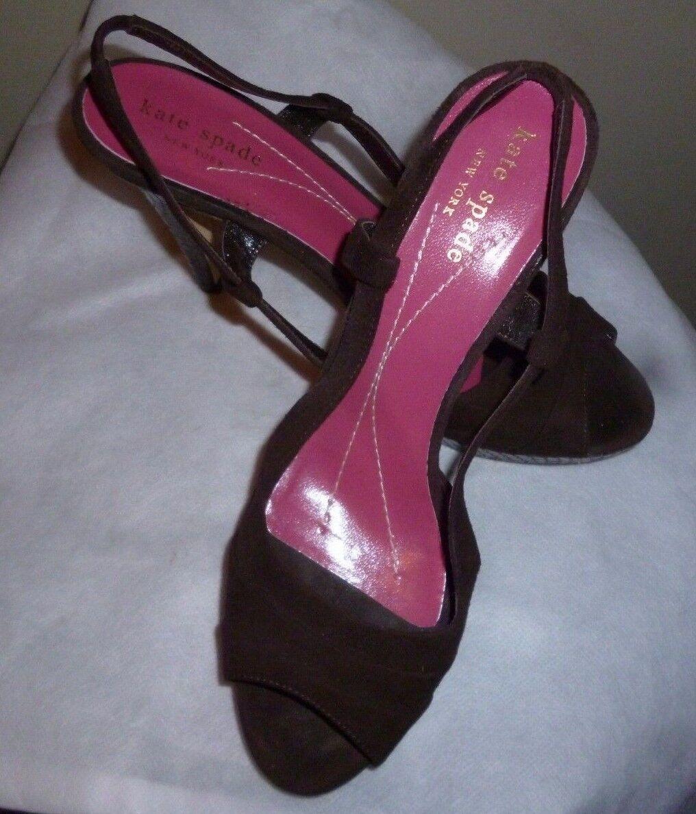 Kate Spade High Heels w Open Toe Pleated braun braun braun Suede & braun Multi Snake 6.5 M 4776e5