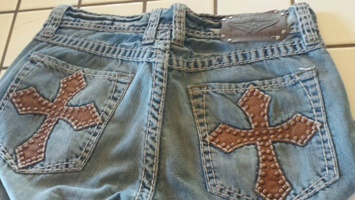 AFFLICTION DENIM KILLERS DISTRESSED JEANS MENS SIZE 31x33 EMBROIDERED COOPER WOW