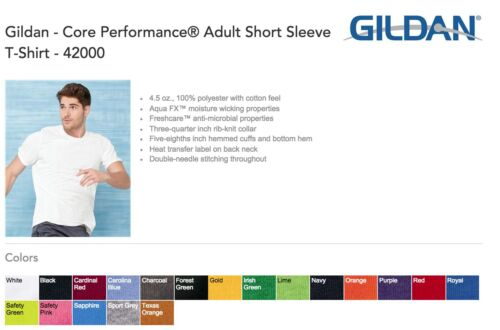 20 Gildan Polyester 42000 T-Shirt Wholesale Bulk Lot ok to mix S-XL /& Colors