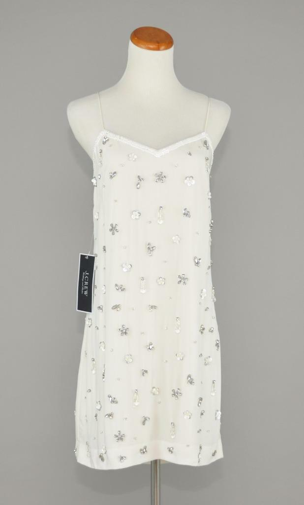 J.CREW  SILK FLORAL BEADED SEQUIN SLIP DRESS 8 IVORY SHORT WEDDING PARTY