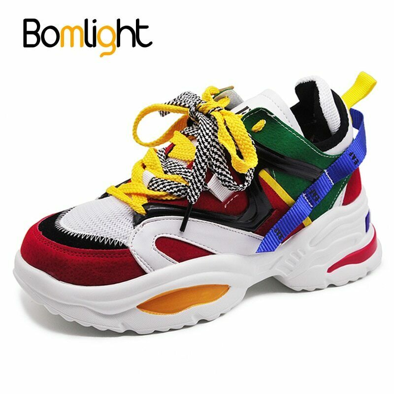 Women chunky trainers sneakers platform color lightweight celebrity fashion 2019