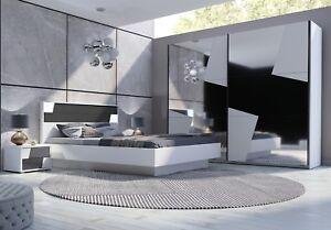 Details zu Schlafzimmer komplett Fulmo Weiss Grau Doppelbett Schrank 250 cm  2 x Nachtisch