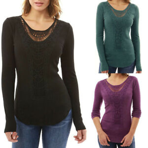 New-Women-Loose-Long-Sleeve-Lace-Neck-Tops-Blouse-Shirt-Casual-Cotton-T-Shirt
